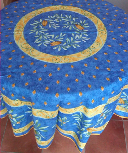 Cicadas Round Tablecloth 180cms Blue